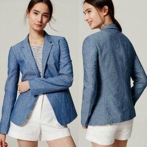 Loft Linen Chambray Blue Blazer NWT